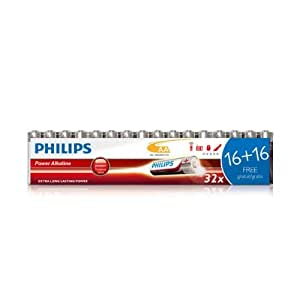 32 Pack (16 + 16 FREE) of Philips AA Cell LR6 MN1500 Alkaline Batteries Powerlife Extra Value Multipack