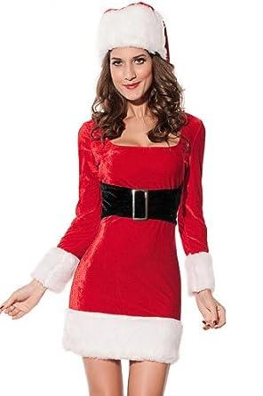 Dear-lover Women's 2PC Mrs Santa Claus Dress Costume, Red Free Size