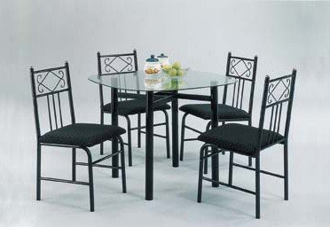 Charming Table and Chairs Dining Set, Black Finish