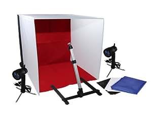 Professionelles Fotozelt Fotobox Fotostudio 2x50W Leuchte, 4 Hintergründe, Kameraständer im Set 60x60x60cm. Von e-port24®