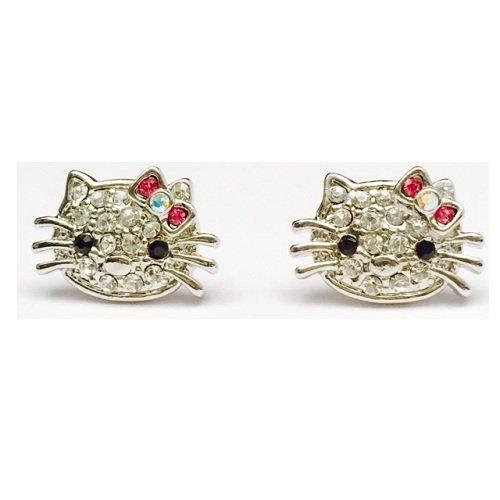 Amythyst Hello Kitty Earrings (Silver Tone)