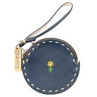 (グアテ) GUATE GUC003 ハンドメイド 花刺繍 丸型 小銭入れ 財布 ストラップ [牛革]