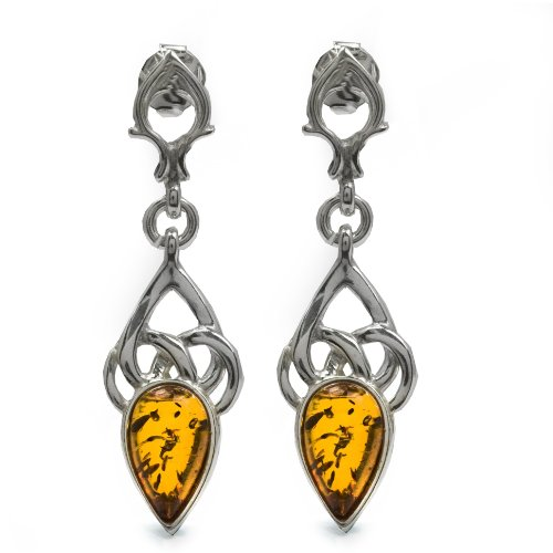Sterling Silver Honey Amber Small Celtic Knot Earrings