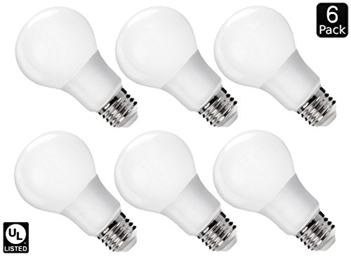 Luxrite LR21390 (6-Pack) 9W LED A19 Light Bulb, 60W Equivalent, Non-Dimmable, Warm White 2700K, E26 Base, UL-Listed (Led Warm Lightbulbs compare prices)