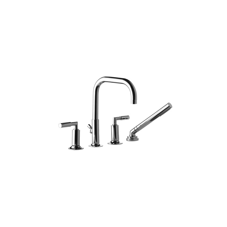 Aquabrass ZG718PC Polished Chrome Bluprint Double Handle Roman Tub Filler Faucet with Personal Handshower and Metal Lever Handles from the Bluprint Collection ZG718