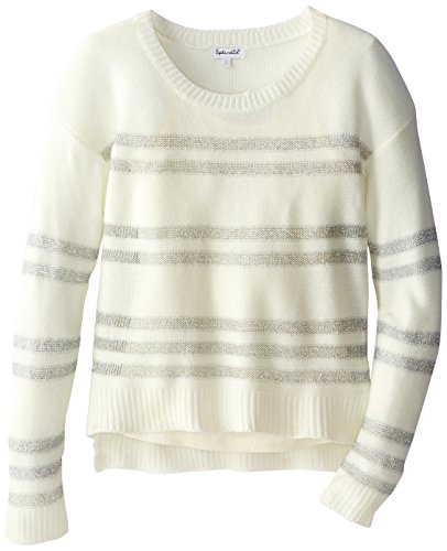 Splendid Big Girls' Long Sleeve Striped Sweater, Off White, 10