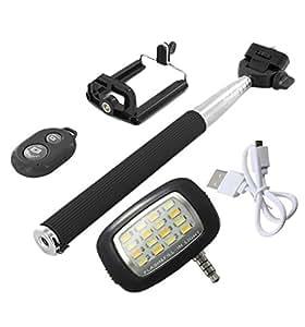 Novo Style Bluetooth Wireless Remote Shutter Selfie Stick - Black with 16 LED Selfie Night Flash Light Accessory Combo