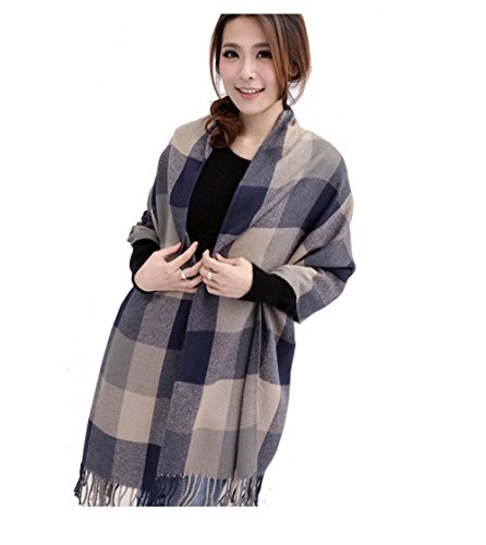Moolecole Womens Winter Warm Wool Knitted Plaid Checked Pattern Scarf Extra Long Section Thick Plaid Shawl Dual-Use (Gray)