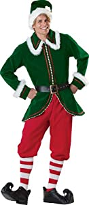 InCharacter Costumes, LLC Santa's Elf Jacket, Green/Red, Medium