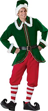 InCharacter Costumes Men's Santa's Elf Costume,, Green/Red, Medium