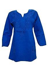Indiatrendzs Lucknow Chikan Handmade Kurta Embroidered Kurti Top