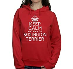 Keep calm and walk the Bedlington terrier womens hooded top pet dog gift ladies Red hoodie white print
