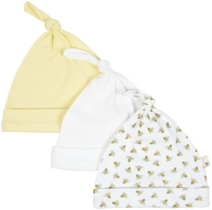 Burt'S Bees Baby Unisex Baby 3 Pack Essentials Knot Top Hats-Sunshine - 3-6 Months front-855037