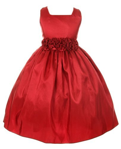 Sweet Kids Girls Slvless Dress Rolled Flw Waistband 4 Red (Sk 3047)