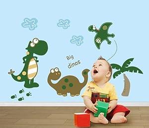 ufengke® Parque de los Dinosaurios Pequeños Dinosaurios Lindos Pegatinas de Pared, Vivero Habitación de los Niños Removible Etiquetas de la pared / Murales