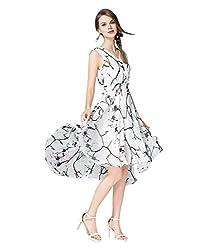 Gopika Creations White&Black Color Sleeveless Dress