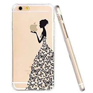 For iPhone 6 Case, Let it be free iphone 6 (4.7-inch) Protective Case Soft Flexible TPU Transparent Skin Scratch-Proof Case for iPhone 6 (4.7-inch)- Butterfuly Girl Pattern
