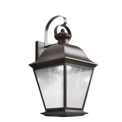 Kichler Lighting 9709Ozled Mount Vernon 20In 10W 3000K Led Exterior Wall Lantern, Olde Bronze Finish With Etched Seedy Glass