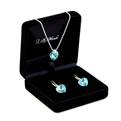 Parure in argento con Elementi Swarovski® originali, ciondolo a cuore, blu, dimensioni: 14 mm, con custodia per gioielli, ideale come regalo per mogli o fidanzate