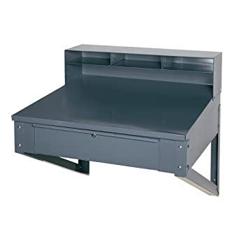 "Edsal 650 Steel Wall Mounted Shop Desk with 5 Top and Drawer, 34"" Width x 32"" Height x 30"" Depth, Gray"