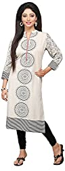 Vastra Vinod Women's Cotton Kurta (Aug6tn, Off-White, XXXX-Large)