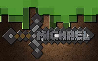 Boys Mine Blocks Sword Personalized 13x19 POSTER With Your Name!