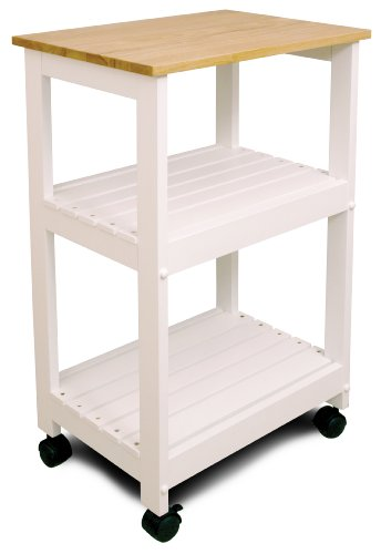 Catskill Craftsmen Utility Kitchen Cart/Microwave Stand, White Base with Natural Top (Kitchen Island Microwave compare prices)