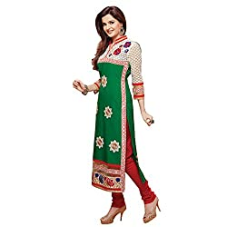 Fabfirki Green and Red Cotton Unstitched Salwar Suit