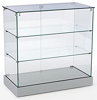 retail display cabinet with frameless design tempered glass case with 2 shelves. Black Bedroom Furniture Sets. Home Design Ideas