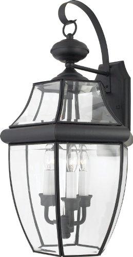 Quoizel NY8318K Newbury 3-Light Outdoor Wall Fixture, Mystic Black