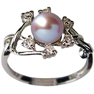 Entwining Vine Cultured Pearl Cubic Zirconia Ring in Platinum Overlay CAREFREE Sterling Silver, Lavender