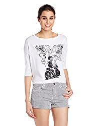 Wrangler Women's Printed T-Shirt (W14548J03485_Grey Melange_X-Large)