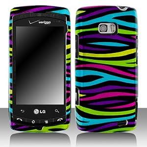"""Multi Color Zebra Animal Pattern Design Snap on Hard Skin Faceplate Cover Case for Lg Ally Vs740 + Microfiber Cell Phone Bag + Case Opener Pick"