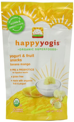Happy Yogis Organic Yogurt Snacks for Babies and Toddlers, Banana Mango, 1-Ounce Pouches (Pack of 8)