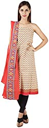 Bee Gee Boutique Women's Synthetic Unstitched Dress Materials (BG-44, Yellow/Maroon)