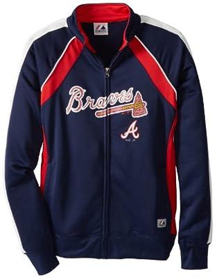 MLB Atlanta Braves Women's Great Play Track Jacket, Navy/Red/White
