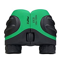 Luwint 8 X 21 Green Kids Binoculars for Bird Watching, Watching Wildlife or Scenery, Game, Mini Compact and Image Stabilized