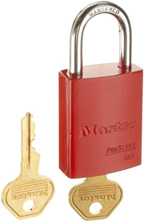 "Master Lock Aluminum Lockout/Tagout Padlock, Master Keyed, 1-3/4"" Body Length, 1-1/16"" Shackle Clearance"