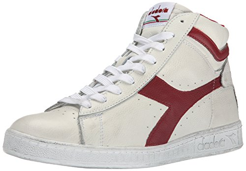 Diadora Game L High Waxed Scarpe Low-Top, Unisex adulto, Multicolore (C5147 Bianco/Rosso Peperone), 43