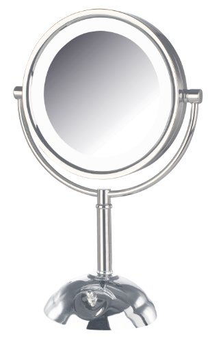 Jerdon Hl8808Cl Tabletop Led Vanity Mirror With 8X Magnification 3-Light Settings Chrome Finish, Chrome, 8.5 Inch, 72 Ounce