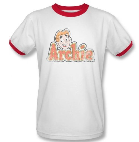 Archie Comics Distressed Archie Logo Ringer T-Shirt White/Red