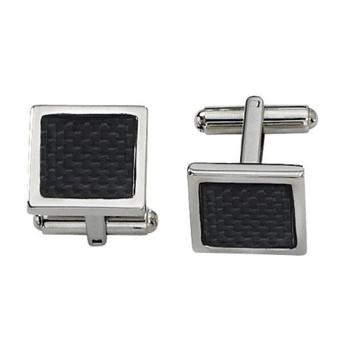 Men's Stainless Steel and Black Carbon Fiber Cuff Links