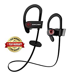 Bluetooth Headphones, SINGARE In-Ear Wireless Earphones,Bluetooth 4.1,Noise Cancelling,Secure Ear Hooks Design, Secure Fit,7 Hrs Playtime with Mic-Black