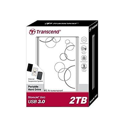 "Transcend 1TB 2.5"" STOREJET 25A3 USB 3.0 Hard Drive (TS1TSJ25A3W), White"