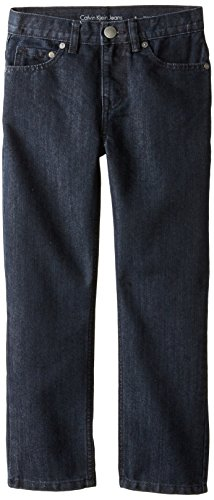 Calvin Klein Big Boys' Rebel Slim Straight Denim Jean, Midnight, 14