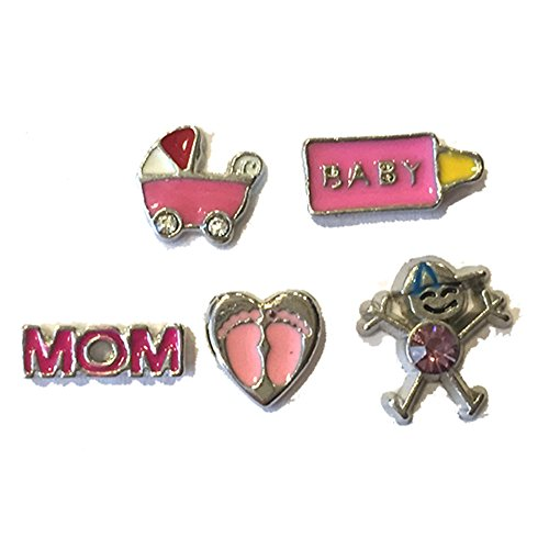 Baby Girl Floating Locket Charms - Set of 5