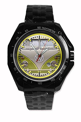 Face Color Front Vw Campervan Yellow Color Printed Snap On Black Watch Stainless Steel