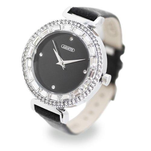 (アビステ)ABISTE ラウンドフェイススクエアクリスタル時計/ブラック 9300025-/BK
