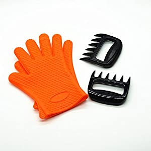 Barbecue Gloves & Pulled Pork Claws Set Silicone Heat Resistant Grilling Accessories & Home Kitchen Tools For Your Indoor & Outdoor Cooking Needs Use as BBQ Meat Turner or Oven Gloves