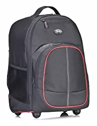 Targus TSB75001US Compact Rolling Backpack for Laptops up to 16-Inch/Macbook Pros up to 17-Inch - Black/Red